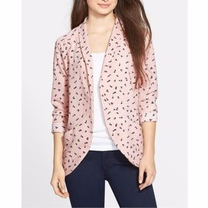 Elodie Pink Printed Drapey Cardigan Blazer